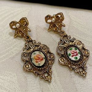 Vintage Gold Guilloché Enamel And Pearl Earrings